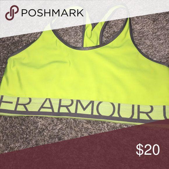 Under armor sports bra EUC! Worn twice. Lime green/neon yellow sports bra Under Armour Intimates & Sleepwear Bras