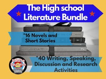 High School literature bundle is super-useful. It contains 40 writing, speaking and discussion activities that focus on 16 commonly taught short stories and novels. The collection can be modified not only across assignment type (writing assignment to discussion topic), but in many cases, across works of literature (Lord of the Flies to The Scarlet Letter, for example). Writing assignments include expository paragraphs, multi-paragraph essays, poems and narrative prose. This helpful resource…