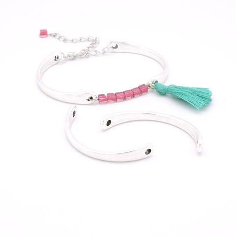 Lot de 2 Connecteurs Jonc pour bracelet en Zamak argenté, Apprêt européen