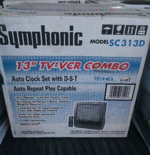 "NEW Symphonic 13"" TV VCR Combo VHS Box Remote Manual Gaming"