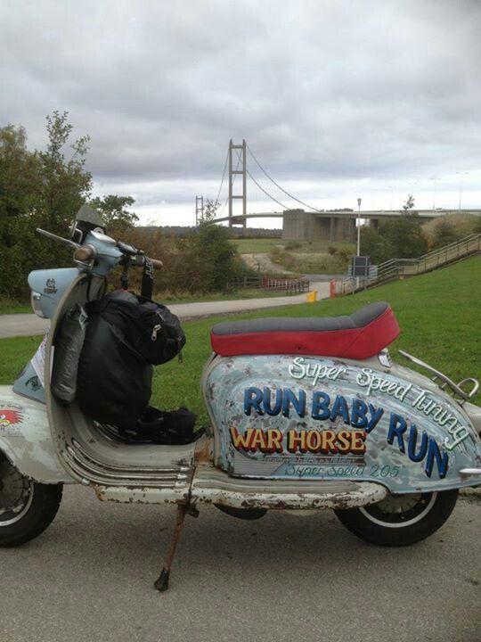 On warhorse at Humber bridge on my way to brid 2012