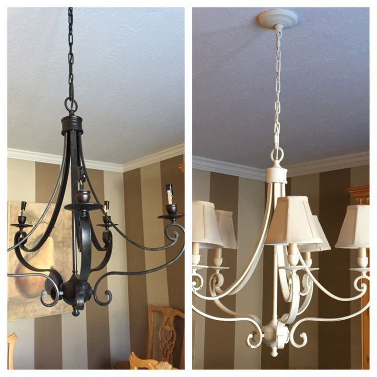 DIY Dining Room Chandelier I Used Annie Sloan Chalk Paint To Update And Lighten The
