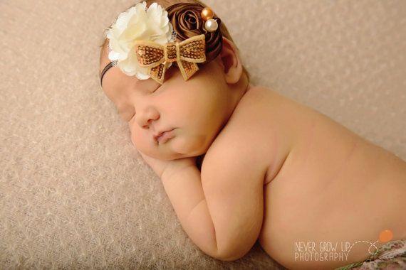 RTS Cream, brown, and gold baby girl headband, brown and gold headband, cream and gold headband, baby shower gift, toddler headband