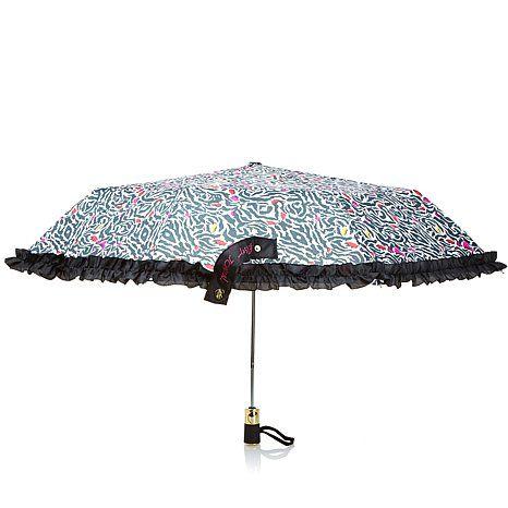 Betsey Johnson Printed Umbrella with Ruffle Trim