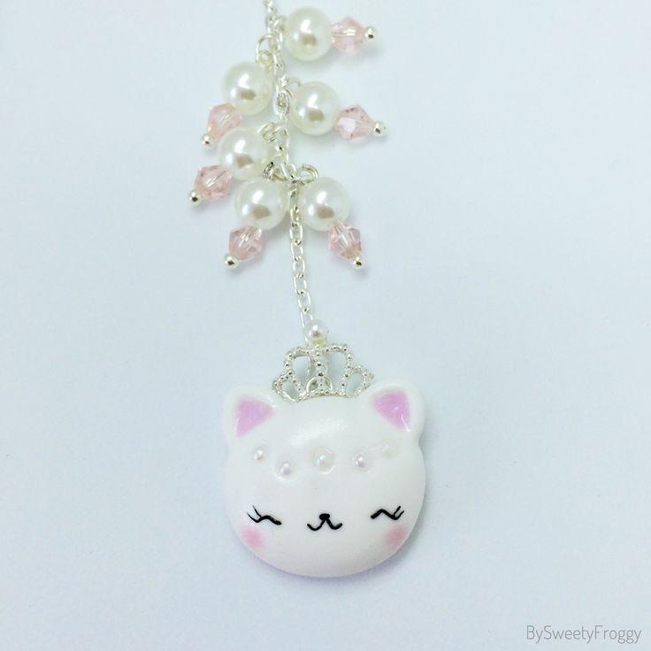 Polymer clay , cat , princess , planner charm , princess , couronne , kikki k , sage , handmade , etsy shop , bysweetyfroggy