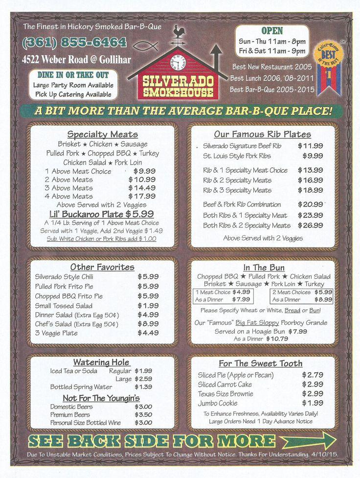 Corpus Christi, TX - Restaurant - Silverado Smokehouse - Front Side Of Menu