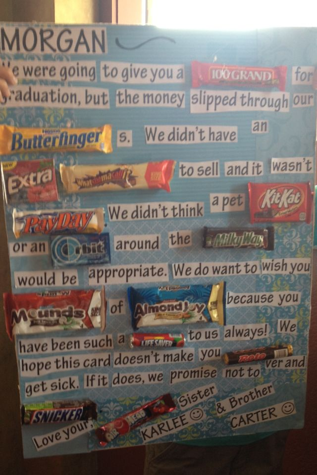 Graduation candy bar sign
