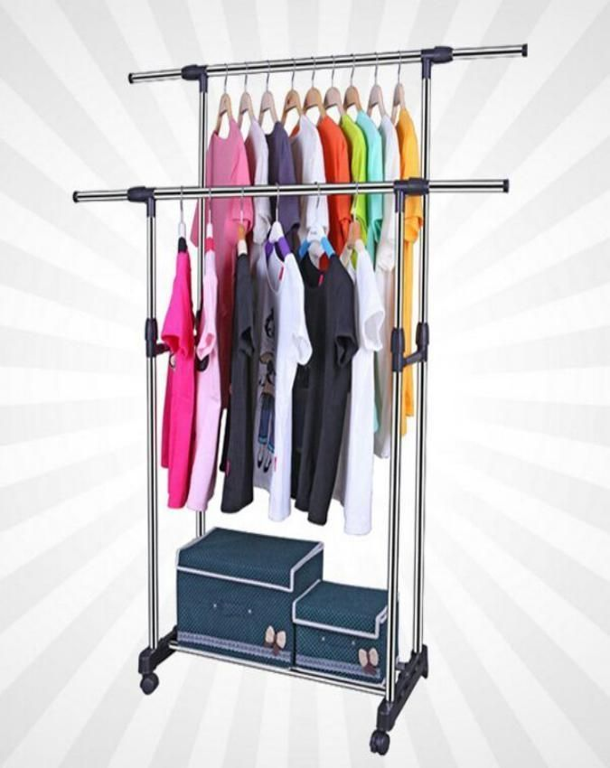 Creative Wall Mounted Retractable Foldable Clothes Rack Magic Hanger Storage Holder Hardware Accessories From Furniture Home Improvement On Banggood Com Diy Clothes Hanger Storage Clothes Hanger Storage Diy Clothes Storage