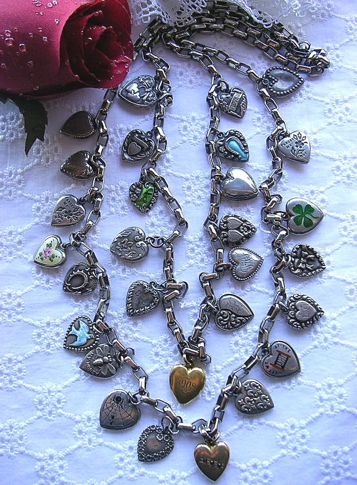 Vintage 1940's Sterling Silver Puffy Heart Charm Necklace