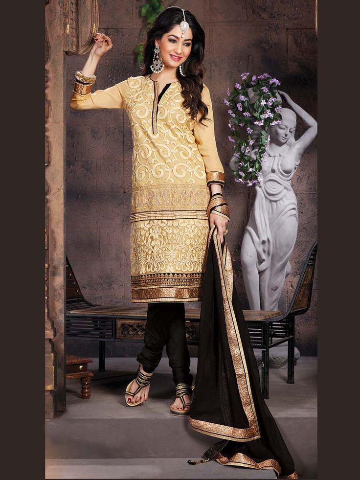 Exquisite beige color net kameez enriched with zari and resham embroidery work.  Item code:  SLUM8296 Shop more: http://www.bharatplaza.com/women/salwar-kameez.html