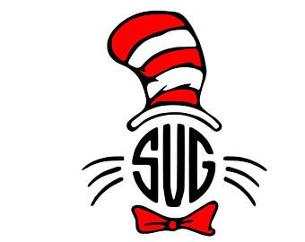 Cat In The Hat Svg Dr Seuss Svg Dr Seuss Monogram Cat Svg