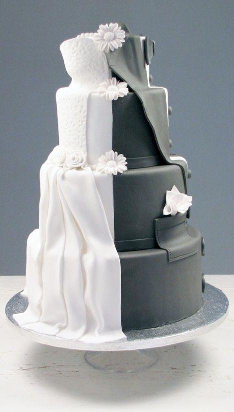 Een bruid-kant en een bruidegom-kant | Tweezijdige bruidstaart.