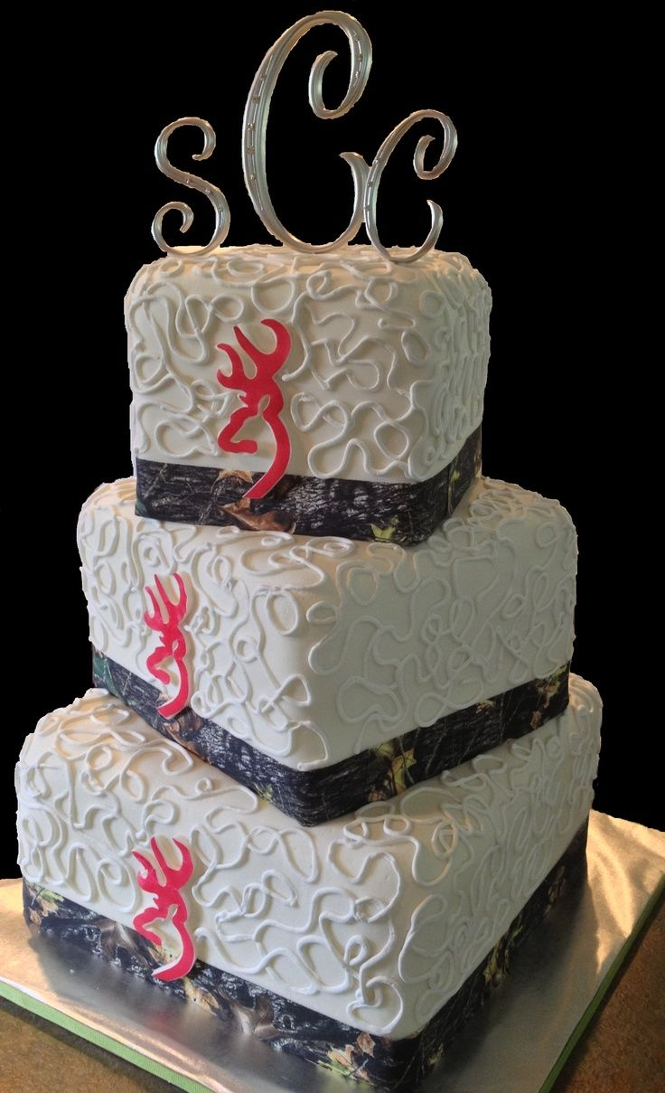 Pink Camo Wedding Cakes | Camo and pink Browning logo wedding cake! www.LolosCakesAndSweets.com ...