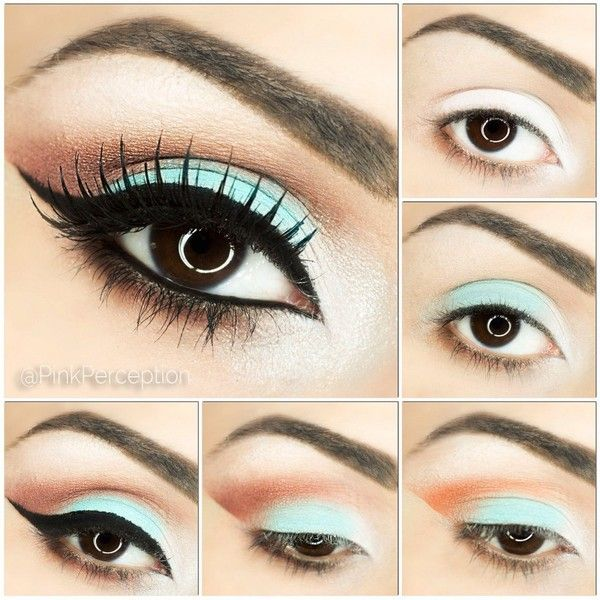 Coral and Mint Eyeshadow Step By Step Tutorial ❤ liked on Polyvore featuring beauty products, makeup, eye makeup and eyeshadow