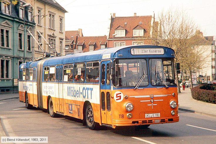Büssing/Emmelmann/SSW (1966) electric bus no. 118 in Kaiserslautern, Germany, photo by Bernd Kittendorf