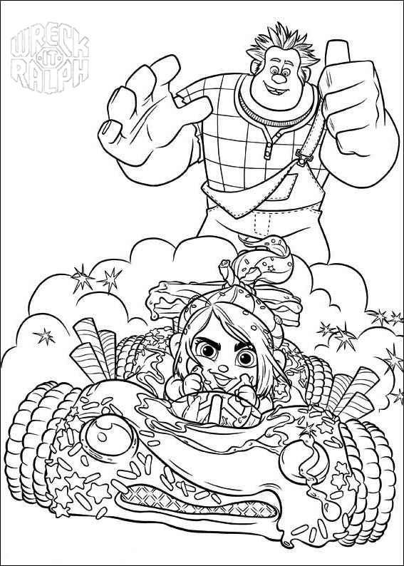 It is a picture of Peaceful Vanellope Coloring Pages