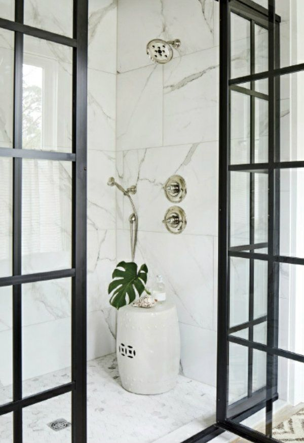 Such A Great Idea To Use The Ceramic Stool In A Shower Without A Built In Bench Southern Living Homes Framed Shower Framed Shower Enclosures