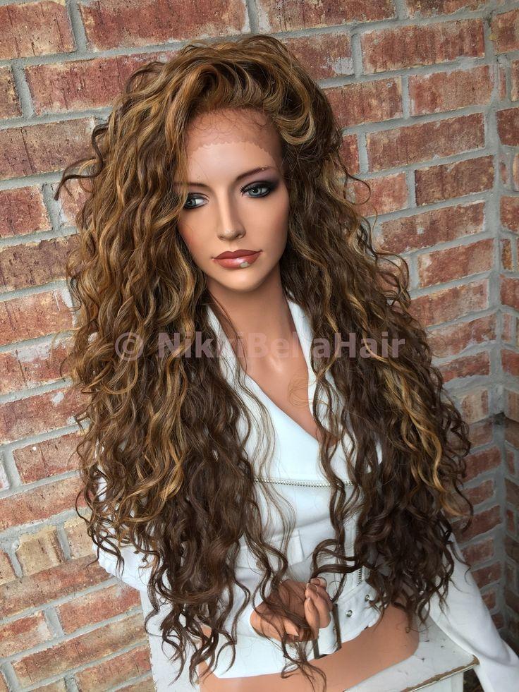 """Honey Blonde Balayage Wavy Lace front wig 26"""""""