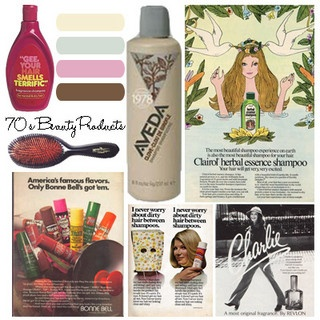 Mood Board - 70's Beauty Products by HappyGoCupcake