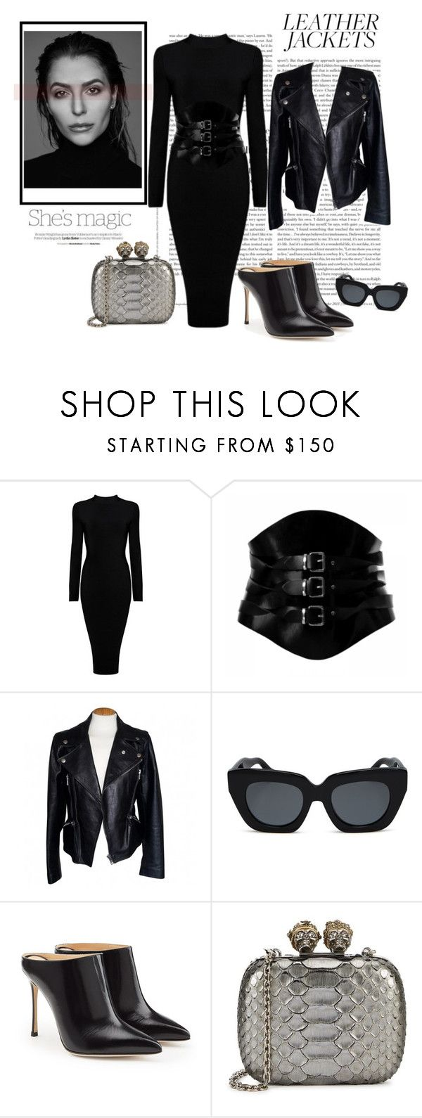 """01.11.17 ""leather jacket"""" by caglatersak ❤ liked on Polyvore featuring Nicole, Alexander McQueen, Gabriella, Sonix, Sergio Rossi, leatherjackets, polyvorecontest and polyvoreset"