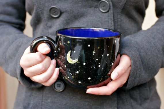 28oz Starry Night Mug Moon and Stars Black Yellow by GrayDecember, $44.95 Pinned by Chrissi @ https://www.etsy.com/uk/shop/geak