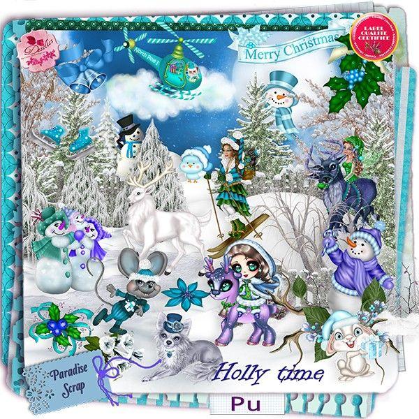 NEW Holly Time by Desclics  Available @ http://www.paradisescrap.com/fr/376-desclics