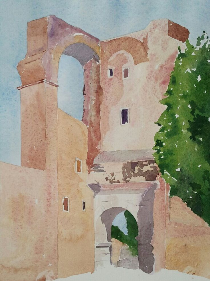 Arco di Dolabella a Roma www.watercoloursundayman.blogspot.com