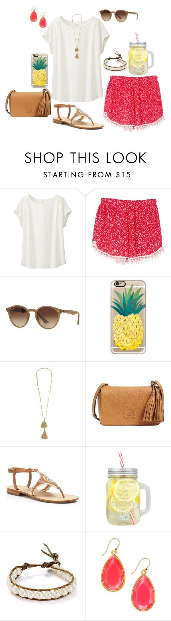 """""""Something different!"""" by lulucutshall ❤ liked on Polyvore featuring Uniqlo, Ray-Ban, Casetify, Isabel Marant, Tory Burch, Jack Rogers, Chan Luu and Kate Spade"""