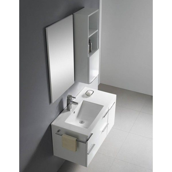 Moderna White With Side Mirror Storage | Best value bathroom furniture in Ireland.  Contemporary wall hung vanity with offset ceramic sink, soft close drawers and door.  Perfect for a medium to large sized bathroom.      Measurements  Description:  Dimension (MM): Main Cabinet900*456*500 Mirror500*20*850 Side Cabinet250*150*850