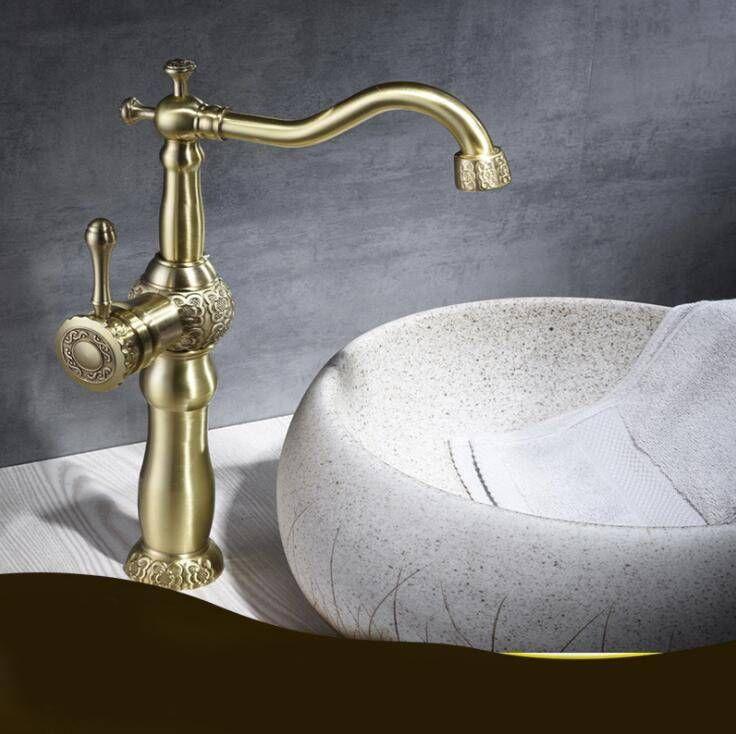 New Basin Faucets Antique Color Brass Crane Bathroom Faucets Hot