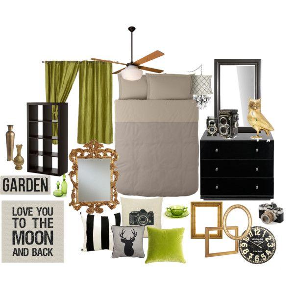 Modern Vintage Bedroom Inspiration, created by missalyssamae on Polyvore