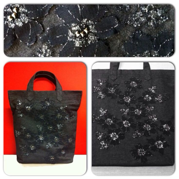 ACCESSORIES | Chryssomally || Art & Fashion Designer - Denim, lace and studs shopping bag