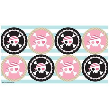 """Send your pirate pals home with a lollipop accented with this Pretty Pirates Party Large Lollipop Sticker Sheet! The sheet includes 8 large lollipop stickers that each measure 2.5""""""""W. Please note: lol"""