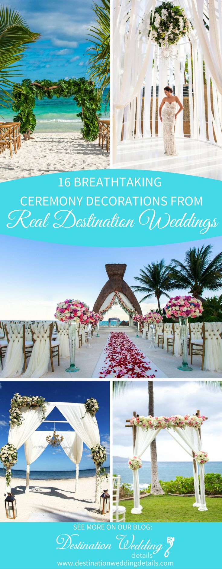 These 16 outdoor beach wedding ceremony decorations are beautiful! From rustic to elegant, they make the most beautiful backdrop for a destination wedding.