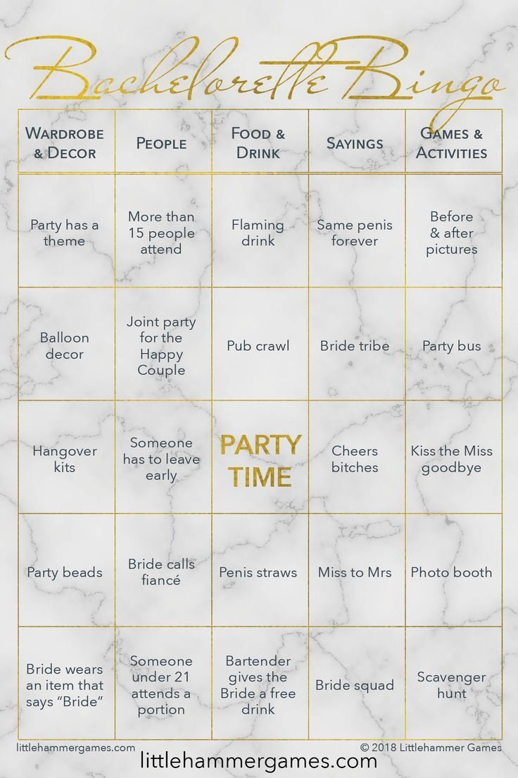 Bachelorette Bingo Gold Marble Printable Game Cards In 2019