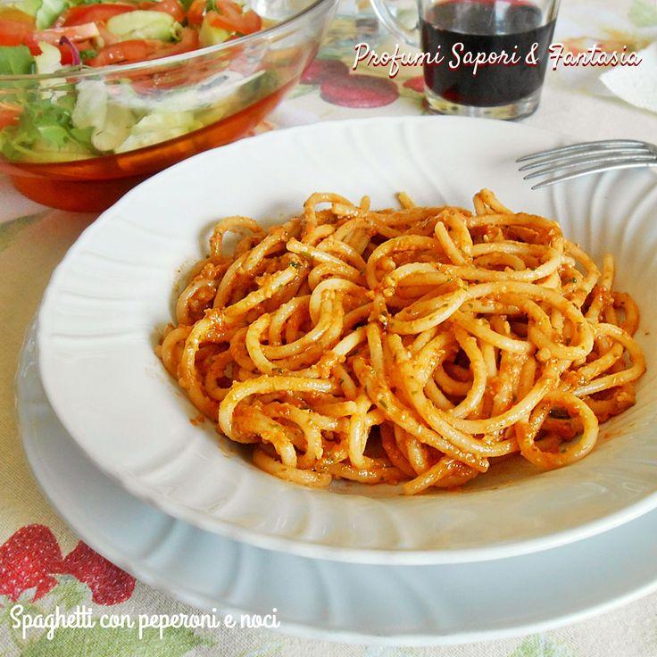 Spaghetti con peperoni e noci grande
