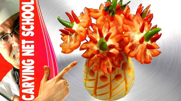 Art in sweet peppers, fruit carving tutorial for beginners, Escultura em...
