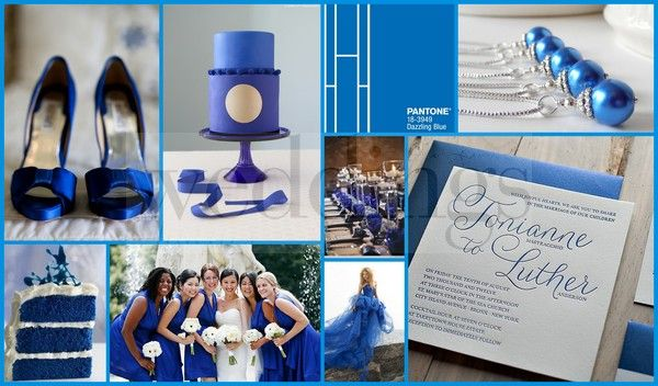 Pantone 2014 spring colours- dazzling blue. Modern wedding inspiration. The blue cake is briliant! These are some really fun ways to integrate dazzling blue into your wedding. Add a little or a lot, your choice! www.gembycarati.com www.facebook.com/gembycarati