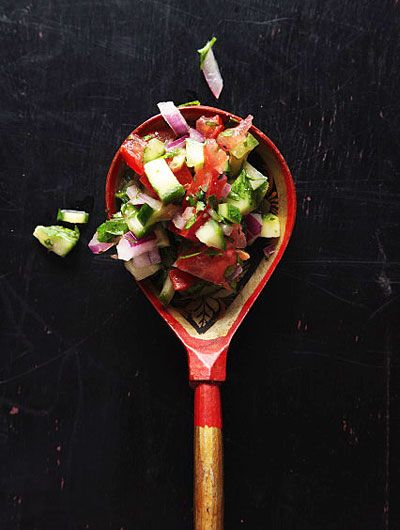 Shirazi Salad Recipe - Saveur.com ~ Chopped tomatoes, parsley, cucumbers, and onions are dressed simply with olive oil and lemon juice in this refreshing Persian salad—a great side dish for picnics or barbecues.