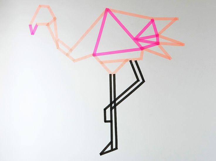 Décorer des murs avec du #maskingtape #diy #flamingo