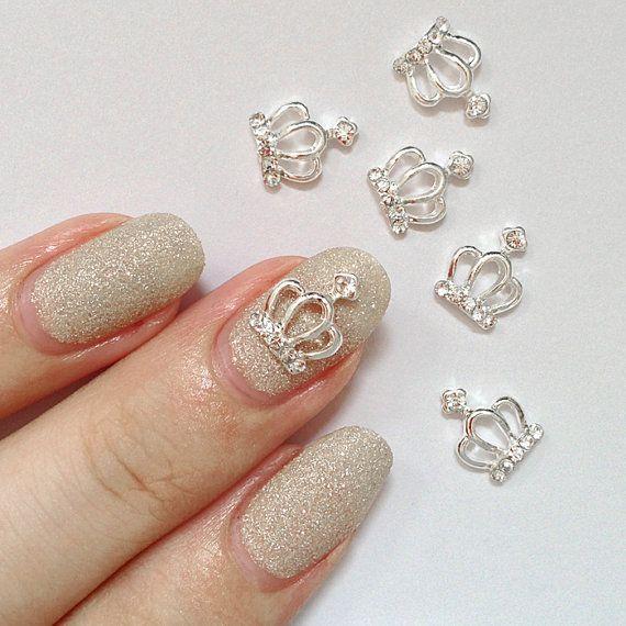 2 Pcs Silver Crown Crystal/Diamonds Metallic 3D Nail Art ...