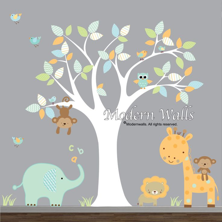 Children Wall Decals For Nursery-Tree with Jungle Animals Birds by Modernwalls on Etsy https://www.etsy.com/listing/174126935/children-wall-decals-for-nursery-tree