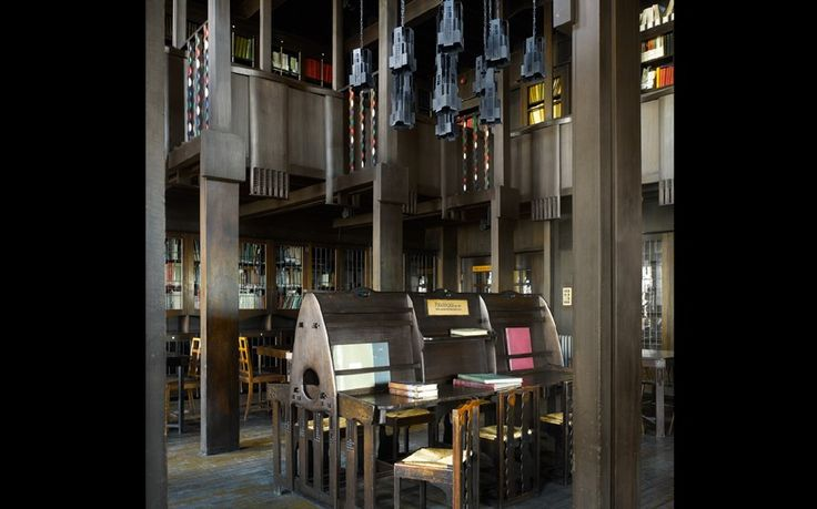 Glasgow school of art : Every element in the library of the Glasgow School of Art (1909) was designed by Charles Rennie Mackintosh, who had taken evening classes in architecture at the university in 1883.