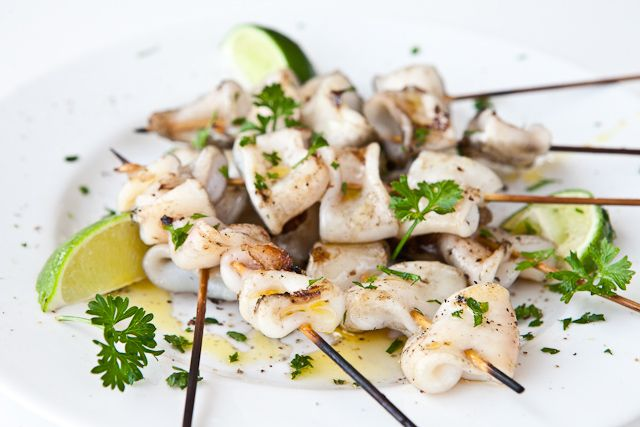 Grilled Calamari Recipe | Steamy Kitchen Recipes. Much easier and healthier way to make squid than breading and making calamari. Tastes very seafood-ie. But I personally enjoy that