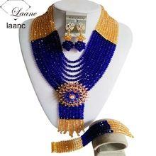 Original do ouro champagne e azul royal Cristal Colares Nigerianos Beads casamento Africanos Jóias Set Free shippingLZ489