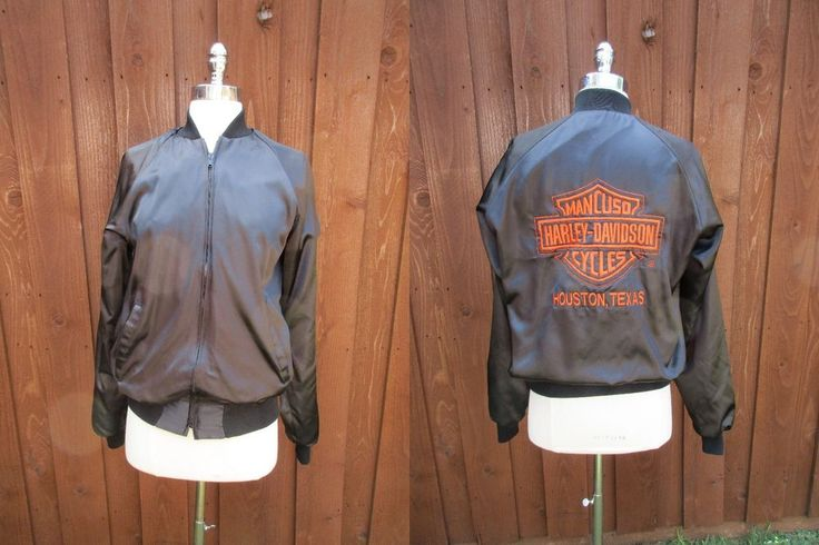 Harley Davidson Black Satin Jacket Orange Shield Mancuso Cycles Houston Tx Sz M #HarleyDavidson #Casual