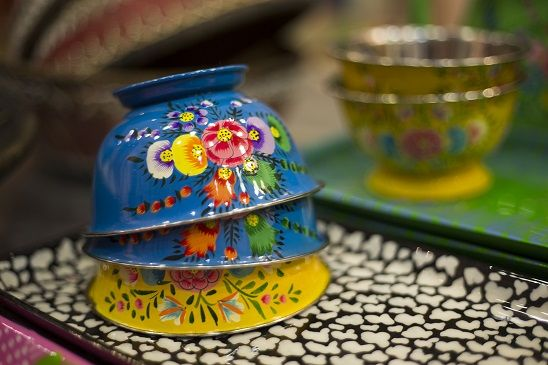 colorful tin bowls