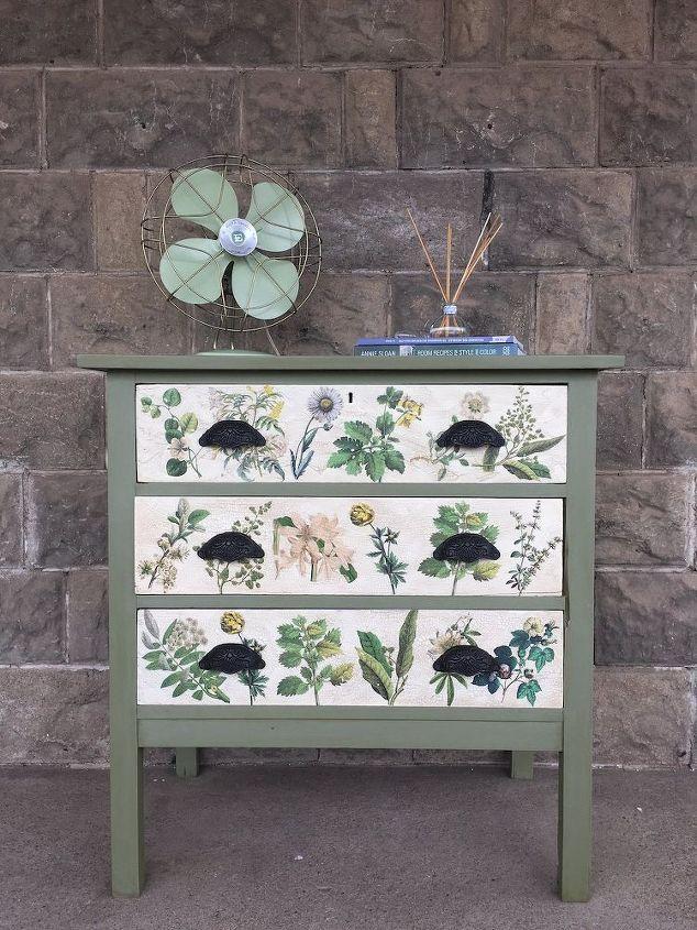 florale geïnspireerde decoupaged beeldoverdracht dressoir, decoupage, hoe, beschilderde meubelen
