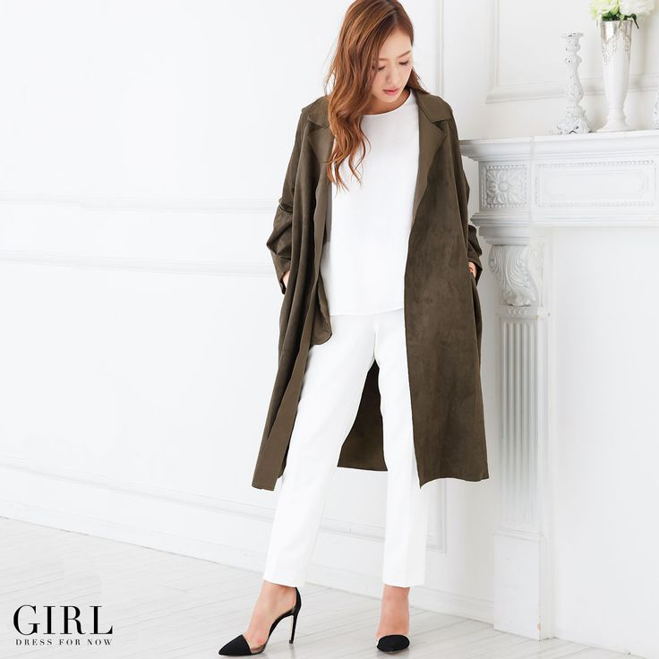 GIRL スエードガウンコート ●価格 12,949円(税込)●サイズ:フリー ●カラー:カーキ/グレー/ブラック