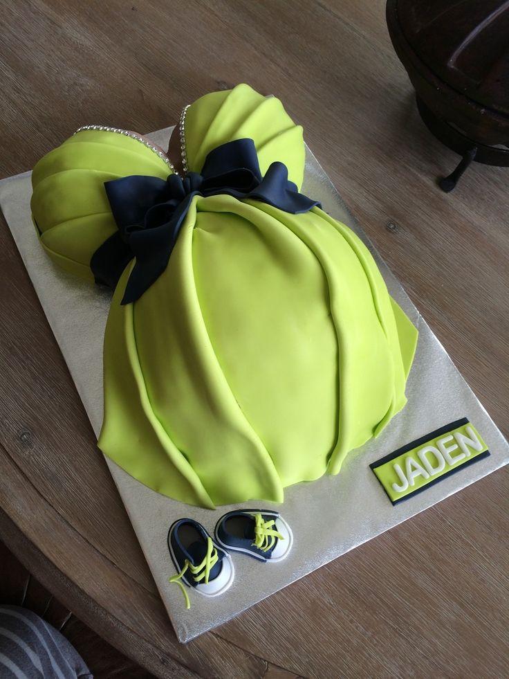 Elegant Pregnant Belly Cake